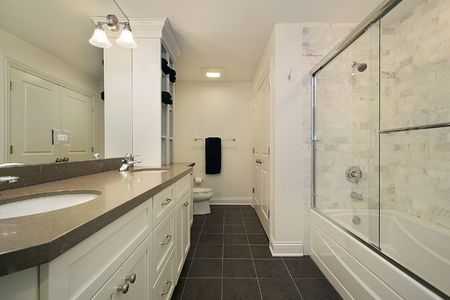 Master bath with white brick shower walls Stock Photo - 6732909