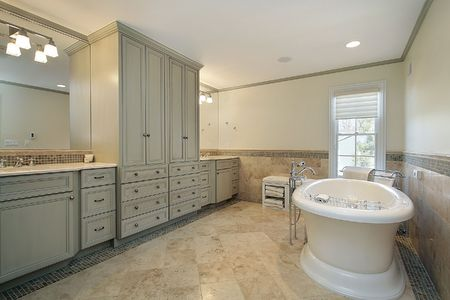 Luxury master bath with large white tub