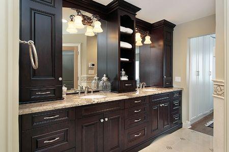 vanity: Vanity in master bath of large luxury home
