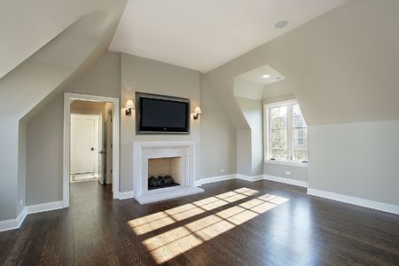 Master bedroom in new construction home with fireplace Stock Photo - 6732987