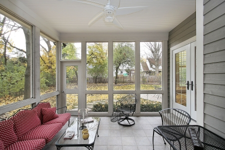 Porch with patio views during the fall Stock Photo