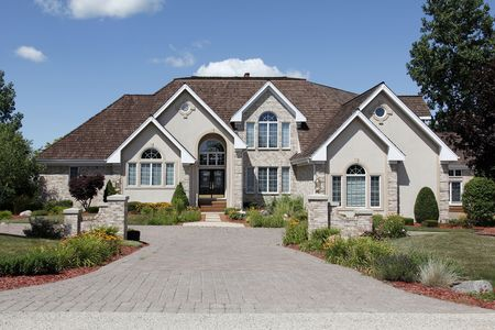 Luxury home in suburbs with stone pillars Stock Photo - 6761257
