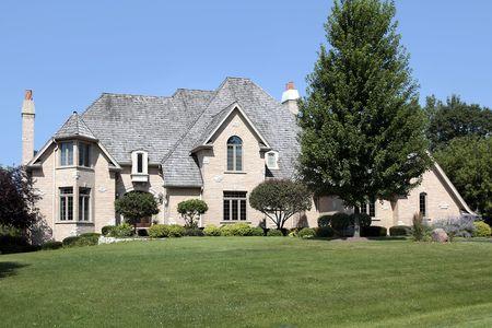 Large suburban home with cedar shake roof photo