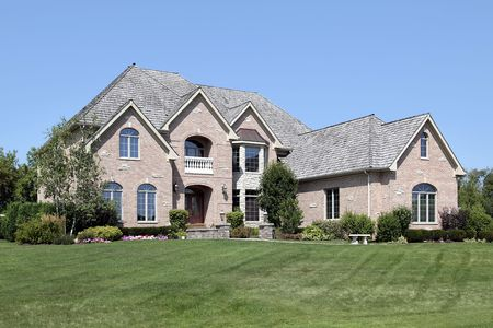 Luxury brick home in suburbs with balcony Stock Photo - 6761271