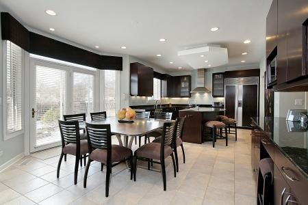 lighting fixtures: Kitchen in luxury home with dark wood paneling