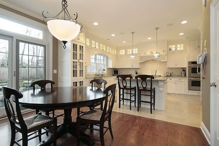 eating area: Kitchen and eating area in luxury home Stock Photo