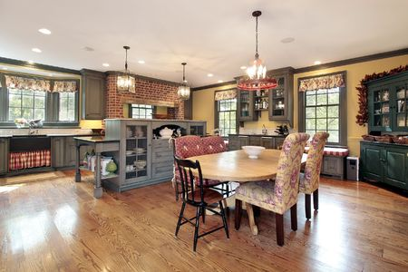eating area: Country kitchen in suburban home with eating area