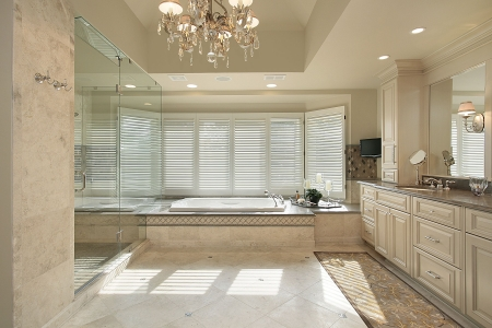 Master bath in luxury home with large tub Stock Photo - 6760860