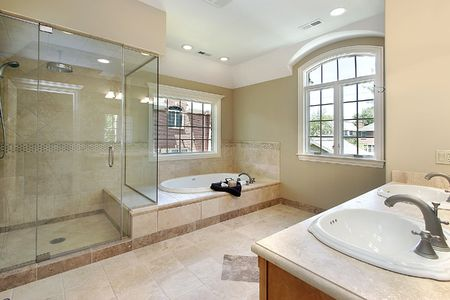 master: Master bath with glass shower and large tub