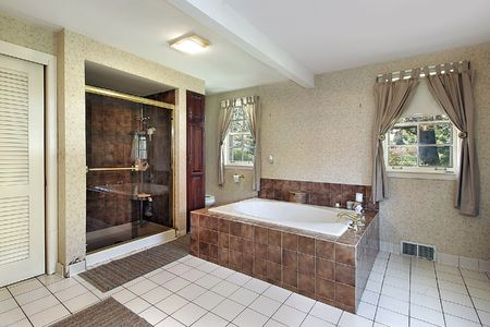 Master bath in luxury home with large tub Stock Photo - 6732642