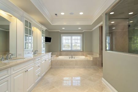 Master bath in new construction home with glass shower Stock Photo - 6732491