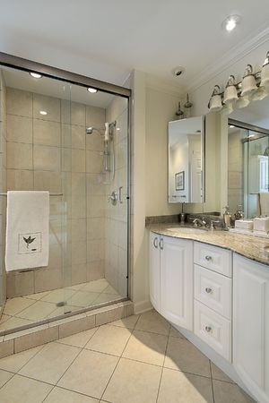 Master bath in luxury home with glass shower Stock Photo - 6733086