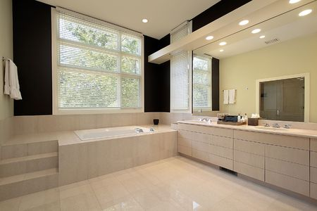 Master bath in luxury home with step up tub Stock Photo - 6732458
