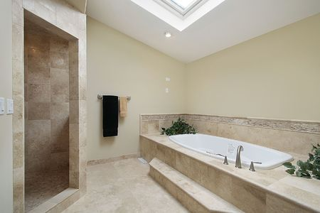 Master bath in luxury home with step up tub Stock Photo - 6732726