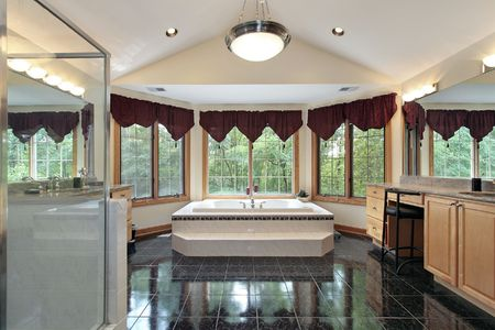 Master bath in luxury home with step up tub Stock Photo - 6732442
