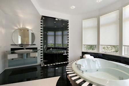 Ultra modern master bath with black marble shower Stock Photo