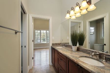 Jack and jill bathroom in new construction home photo