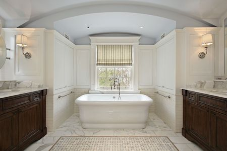 master bath: Master bath in luxury home with white tub Stock Photo