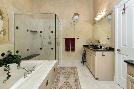 Master bath in luxury home with large glass shower Stock Photo - 6732633