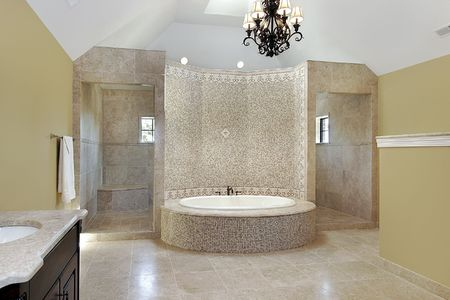 master: Master bath in new construction home with circular tub