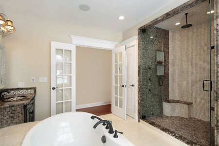 Master bath with elaborate tile shower in new construction home Stock Photo - 6732418