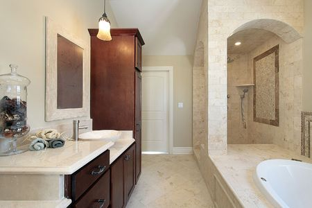 Master bath in new construction home with stone shower photo