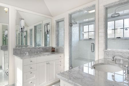 upscale: Master bath in new construction home with white cabnietry