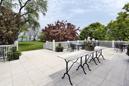 Patio of luxury home with lake view