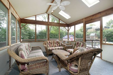 Porch in suburban home with wicker furniture Stock Photo - 6738155