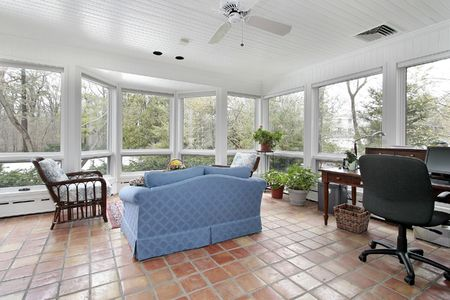 Porch in suburban home with Spanish tile photo