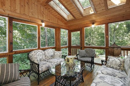 Wood paneled porch in suburban home with skylights Stock Photo - 6738163