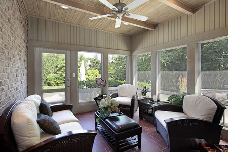 6738215: Porch in luxury home with wood ceiling beams