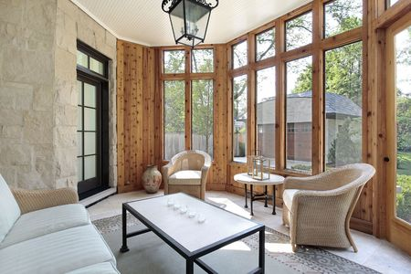 Porch in luxury home with stone wall Stock Photo - 6738177