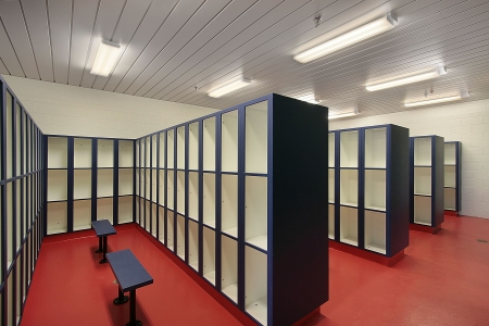 Locker room in swimming pool area of camp photo