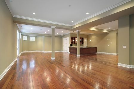 Large basement with kitchen in new construction home photo