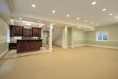 home lighting: Basement in new construction home with bar