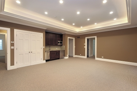 Basement in new construction home with bar Stock Photo - 6738599