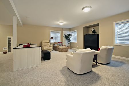 Basement in luxury townhome with tan walls Stock Photo - 6738573