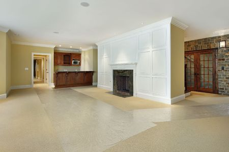 Basement of new construction home with fireplace Stock Photo - 6738324