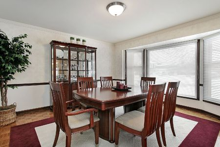 Dining room in suburban home with bay windows Stock Photo - 6738910