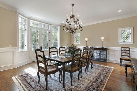 Dining room with doors leading to patio photo