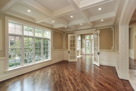 Dining room in new construction home with windowed doors photo