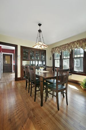 Wood paneled dining room with stained glass Stock Photo - 6738400
