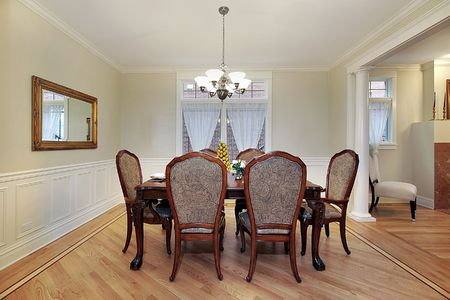 Dining room in luxury home with columns Stock Photo - 6738736