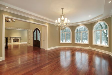 Large cherry wood dining room with foyer view Stock Photo - 6738588