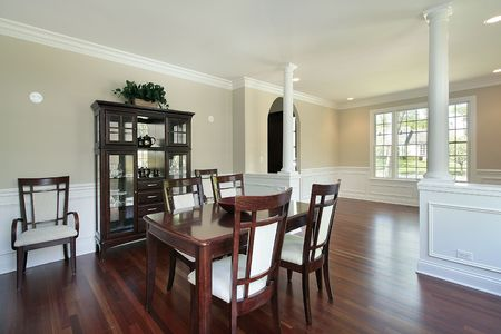 Dining Room In New Construction Home With Columns Stock Photo   6738611