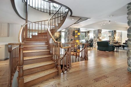 upscale: Western style suburban foyer with circular staircase Stock Photo