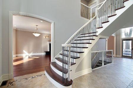 entryway: Family room in new construction home with outside view