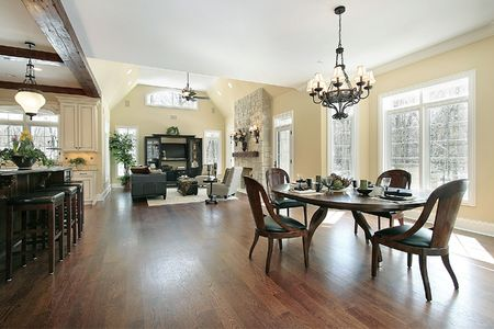 family  room: Kitchen eating area and family room in luxury home