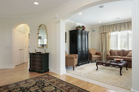 View of living room from foyer of luxury home Stock Photo - 6738333